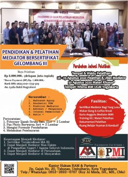 Daftar Pelatihan Mediator di Yogyakarta / Jogja